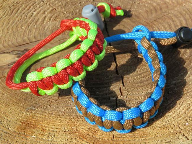 野鳥の色のロ-プで編む ブレスレットづくり